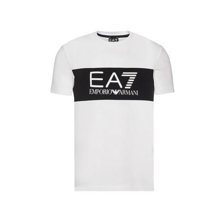 EA7 Contrast Chest Stripe Logo Tee // White