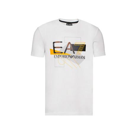 Abstract Graphic EA7 Logo Tee // White