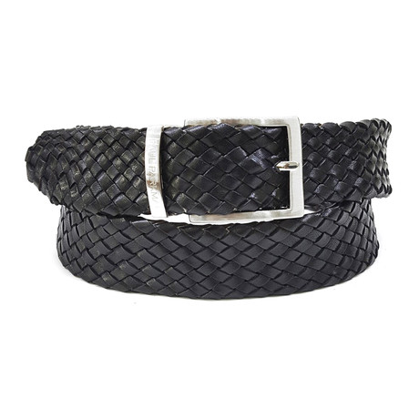 Woven Leather Belt // Black
