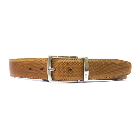 Perforated Leather Belt // Beige