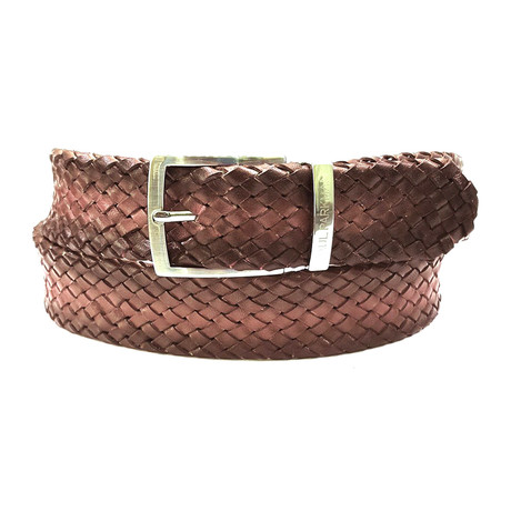 Woven Leather Belt // Brown (S)