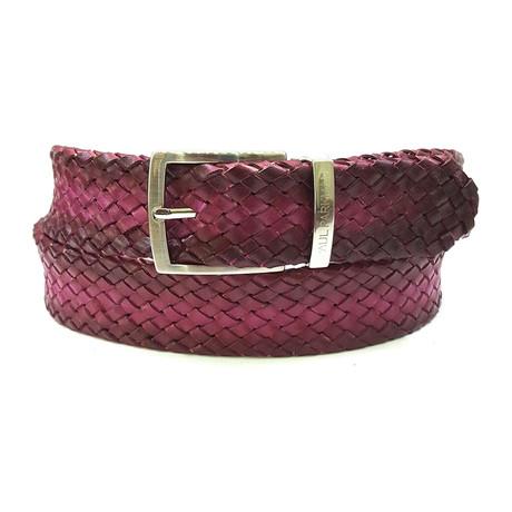 Woven Leather Belt // Purple