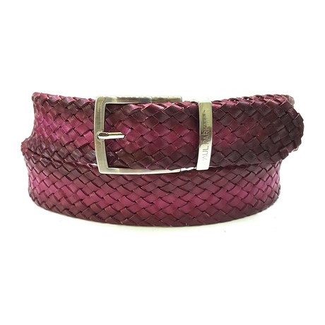 Woven Leather Belt // Purple (S)