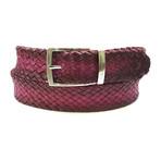 Woven Leather Belt // Purple (S)