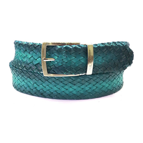Woven Leather Belt // Turquoise