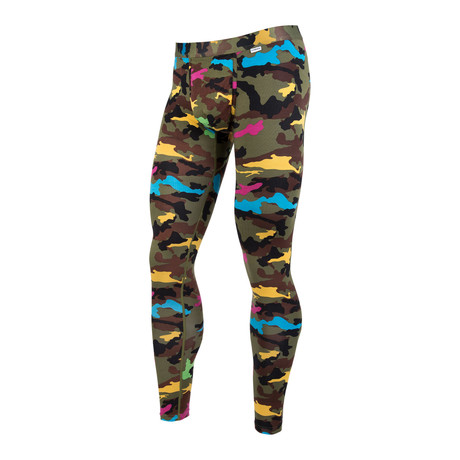 Weekday Camo Full Length Tights // Green Multi + Yellow + Blue