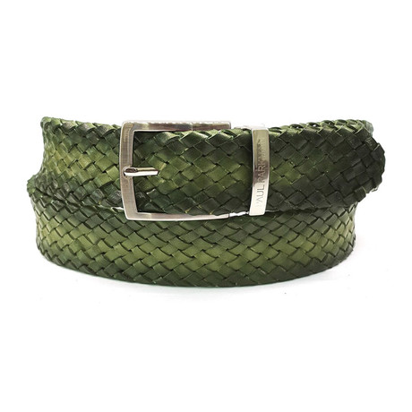 Woven Leather Belt // Green