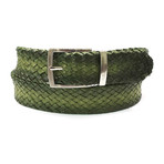 Woven Leather Belt // Green (S)