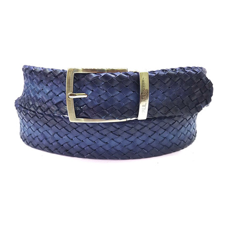 Woven Leather Belt // Navy