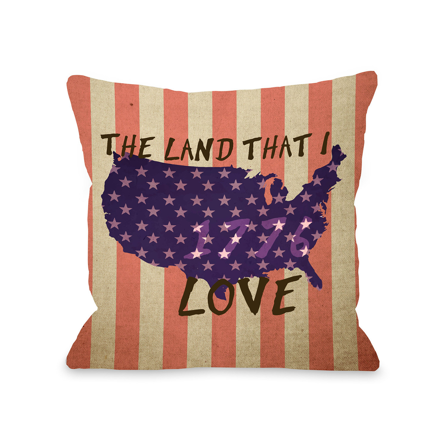 Usa Map Love Pillow 16 L X 16 W Americana Bedding Touch Of