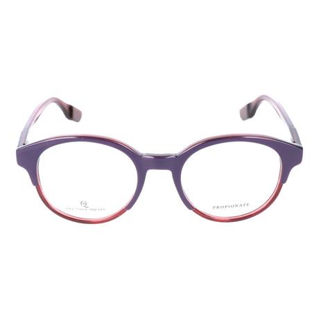 Thick Top Rim Circular Frame // Violet + Red
