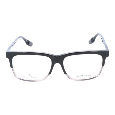 Thick Top Rim Rectangle Frame // Black + Clear