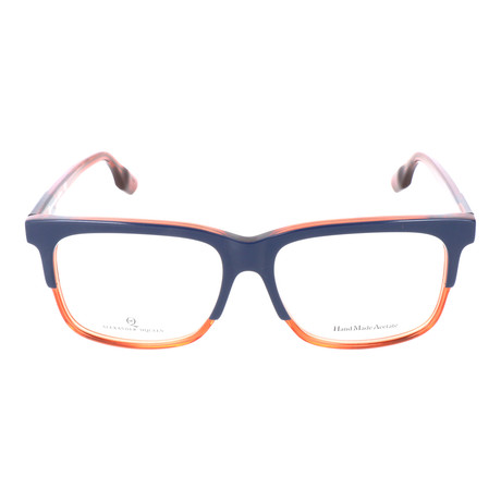 Thick Top Rim Rectangle Frame // Navy + Orange