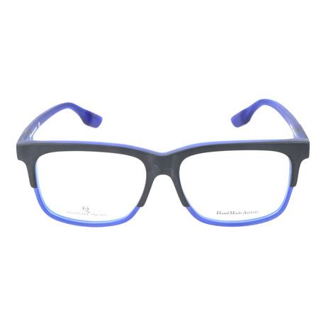 Thick Top Rim Rectangle Frame // Black + Blue