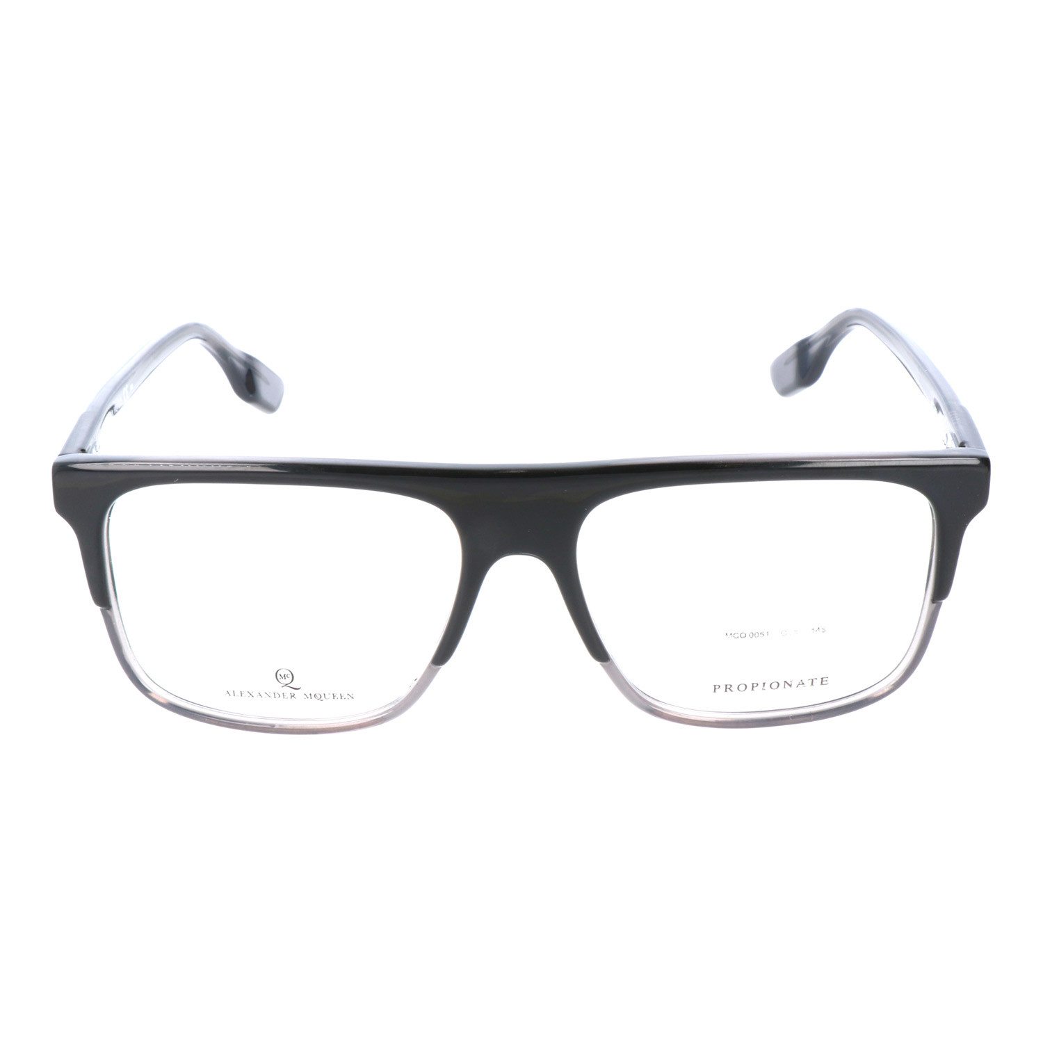 Straight Brow Thick Top Rectangle Frame // Black + Grey - MCQ BY ...
