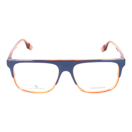 Straight Brow Thick Top Rectangle Frame // Navy + Orange