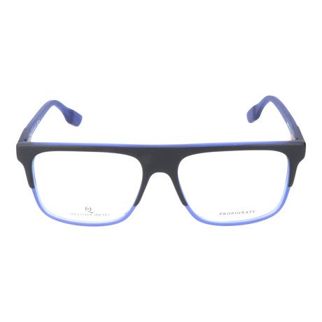 Straight Brow Thick Top Rectangle Frame // Black + Blue