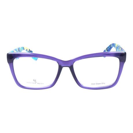 Colorblocked Angular Rectangle Thick Rim Frame // Purple + Blue Multi