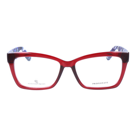 Colorblocked Angular Rectangle Thick Rim Frame // Red + Blue Multi