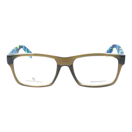 Colorblocked Angular Rectangle Thick Rim Frame // Army + Blue Multi