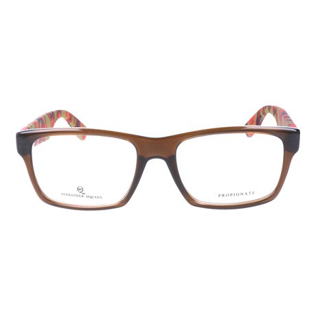 Colorblocked Angular Rectangle Thick Rim Frame // Brown + Red Multi