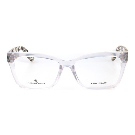 Colorblocked Angular Rectangle Thick Rim Frame // Clear + Black Multi