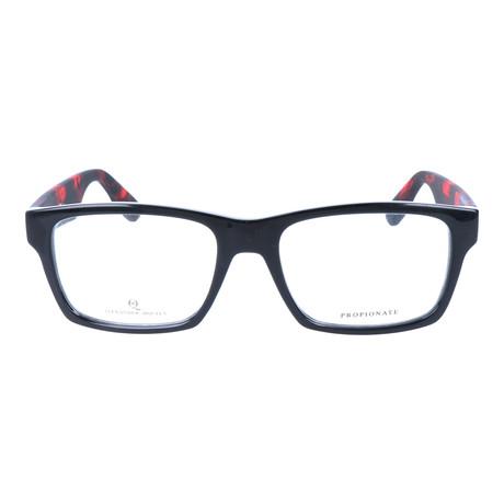 Rectangular Thick Rim Wayfarer // Black + Red