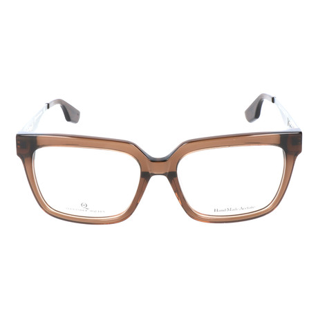 Angled Square Thick Rim Metal Sided Wayfarer // Clear Brown + Pewter