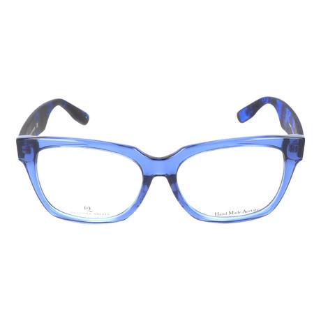 Angled Rectangle Thick Rim Wayfarer // Clear Blue