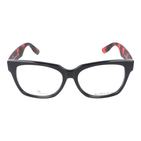 Angled Rectangle Thick Rim Wayfarer // Black + Red