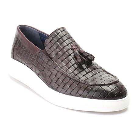 Woven Texture Tassel Loafer Sneaker // Brown