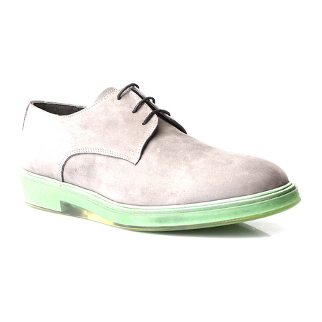Contrast Sole Lace-Up Suede Derby // Grey