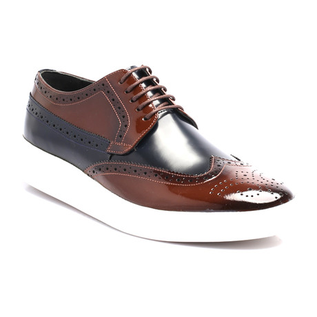 Patent Wingtip Derby Sneaker // Tobacco + Dark Blue