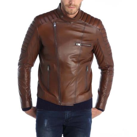Akbez Leather Jacket // Brown