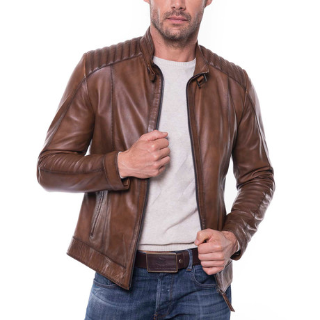 Cilimli Leather Jacket // Cognac