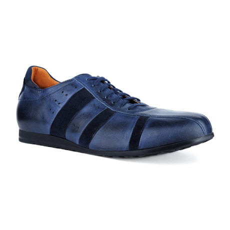 Mixed Texture Striped Sneaker // Navy