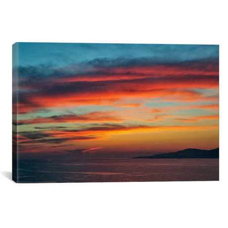 "Majestic Seascape Sunset, Mykonos, Cyclades, Greece (26""W x 18""H x 0.75""D)"