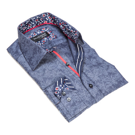 Leaf Button-Up Floral Trim // Navy (S)