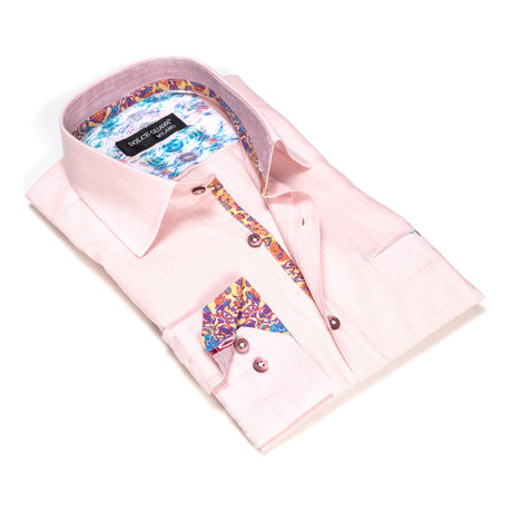 Textured Button-Up Floral Trim // Pink (S)