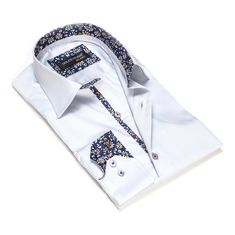 Solid Button-Up Floral Trim // Grey