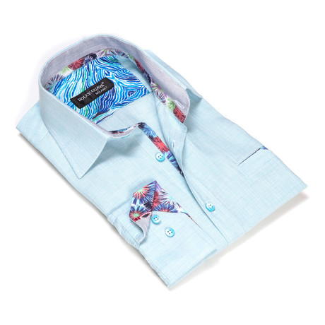 Textured Button-Up Floral Trim // Light Blue (S)