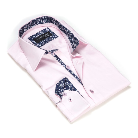 Solid Button-Up Floral Trim // Light Pink (S)