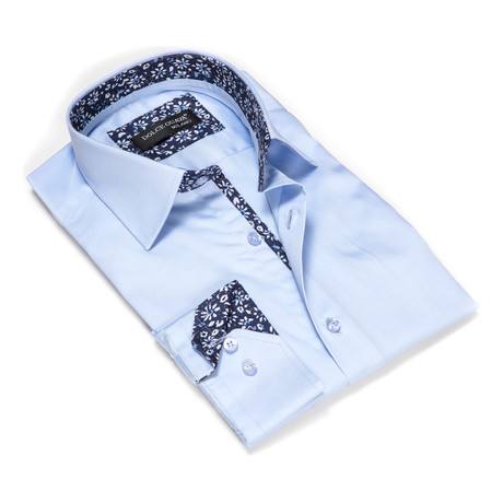 Solid Button-Up Floral Trim // Light Blue (S)