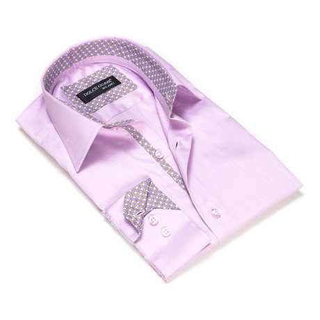 Solid Button-Up Geometric Trim // Lilac (S)