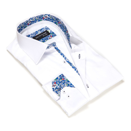 Solid Button-Up Floral Trim // White (S)