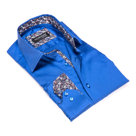 Solid Button-Up Floral Trim // Blue (S)
