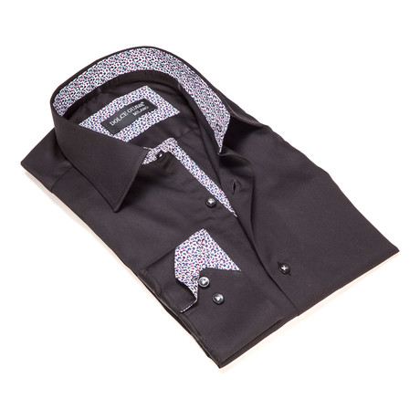 Solid Button-Up Geometric Trim // Black (S)