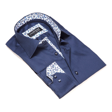 Solid Button-Up Floral Trim // Navy Blue (S)