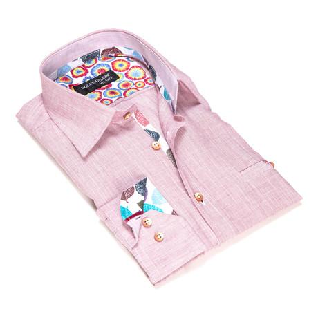 Textured Button-Up Tie Dye Trim // Red (S)