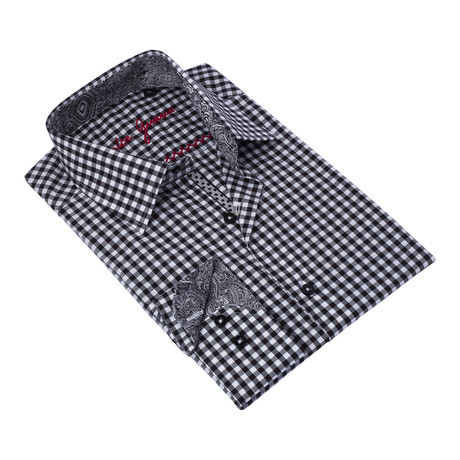Checkered Button-Up Paisley Trim // Black + White (S)